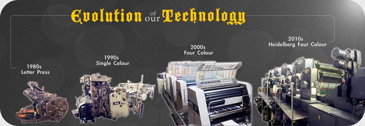 Evolution of our Technology - Over then 40 years of printing. Letter Press, Single Colour, Four Colour, Heidelberg Four Colour